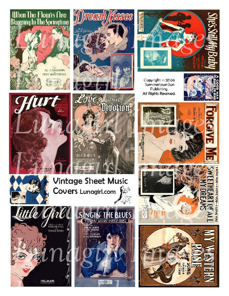 Vintage Sheet Music Covers Digital Collage Sheet - Lunagirl