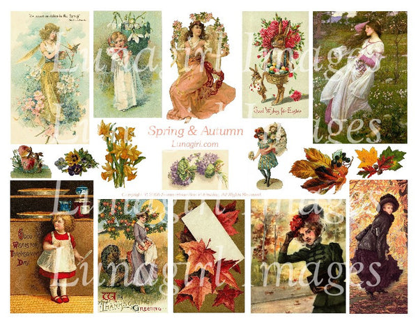 Spring and Autumn Digital Collage Sheet - Lunagirl