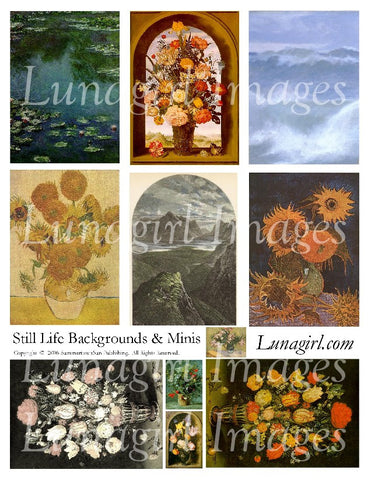 Still Life Backgrounds & Minis Digital Collage Sheet - Lunagirl