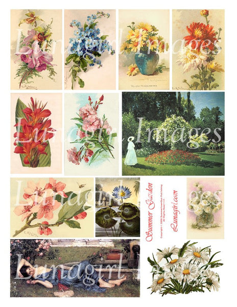 Summer Garden Digital Collage Sheet - Lunagirl