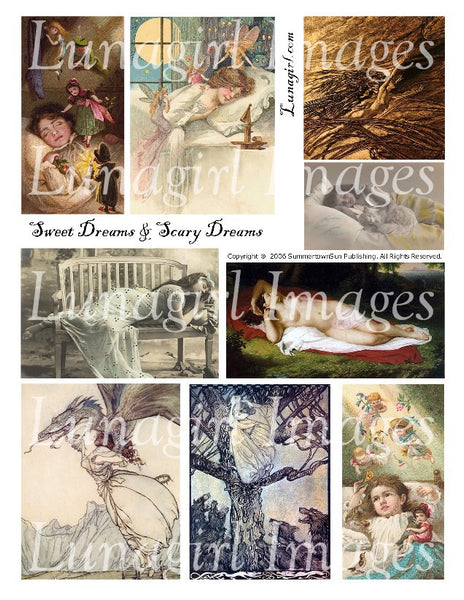 Sweet Dreams Scary Dreams Digital Collage Sheet - Lunagirl