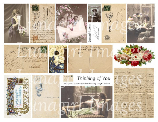 Thinking of You Digital Collage Sheet - Lunagirl