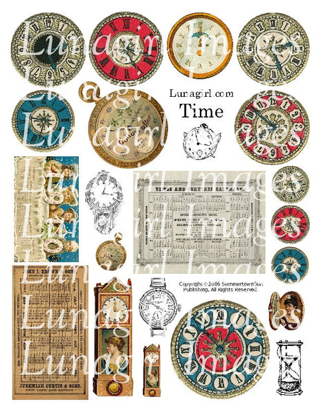 Time Vintage Clocks Digital Collage Sheet - Lunagirl