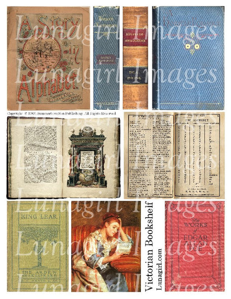 Victorian Bookshelf Digital Collage Sheet - Lunagirl