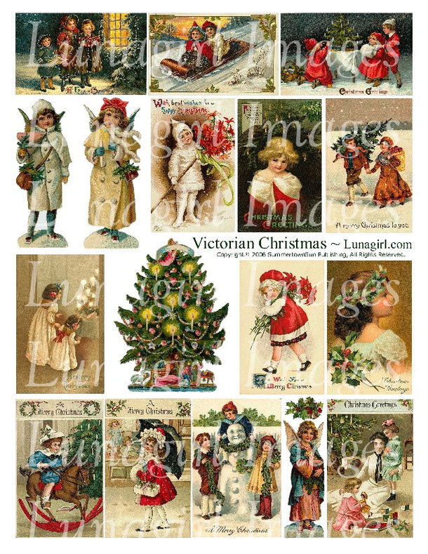 Digital Collage Sheets: Christmas New Year Winter Holidays
