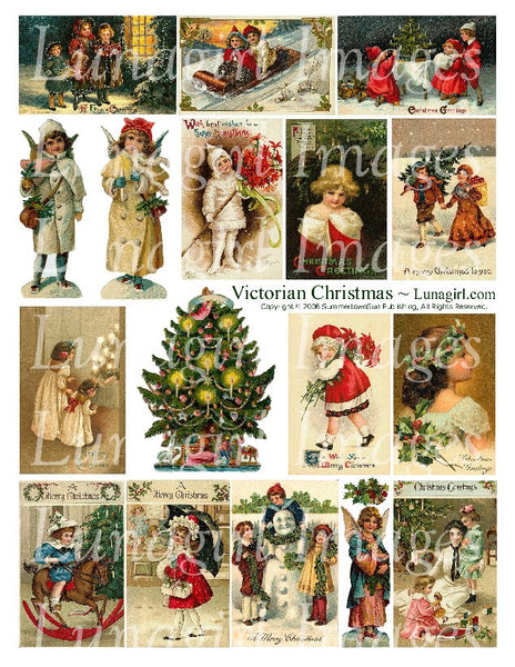 Victorian Christmas Digital Collage Sheet - Lunagirl