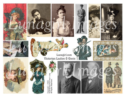 Victorian Ladies & Gents Digital Collage Sheet - Lunagirl