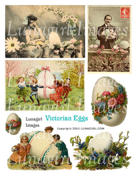 Victorian Eggs Digital Collage Sheet - Lunagirl