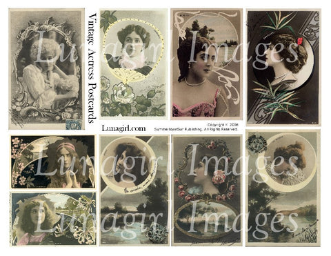 Vintage Actress Postcards Digital Collage Sheet - Lunagirl