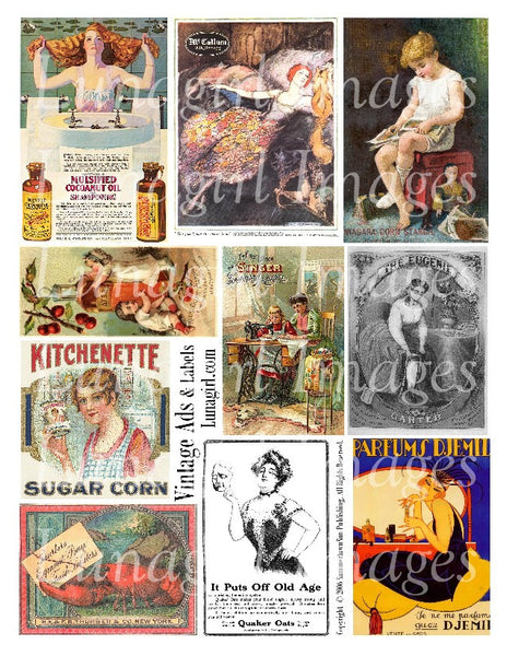 Vintage Ads & Labels Digital Collage Sheet - Lunagirl