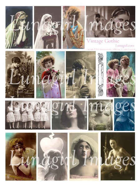 Vintage Gothic Digital Collage Sheet - Lunagirl