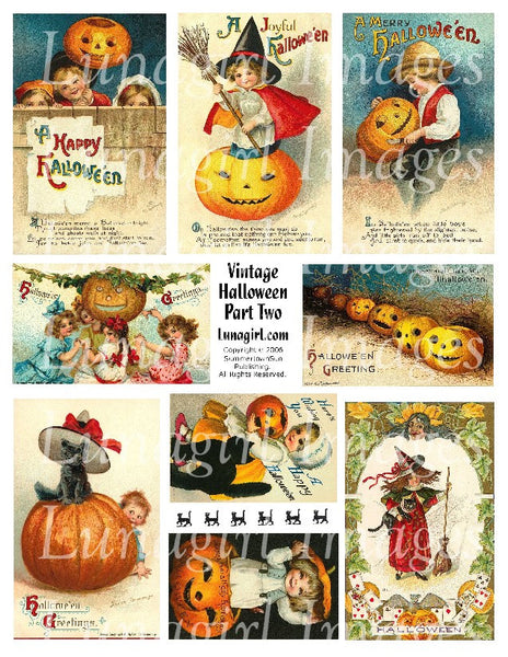 Vintage Halloween #2 Digital Collage Sheet - Lunagirl