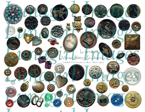 Vintage Buttons & Jewelry Digital Collage Sheet - Lunagirl