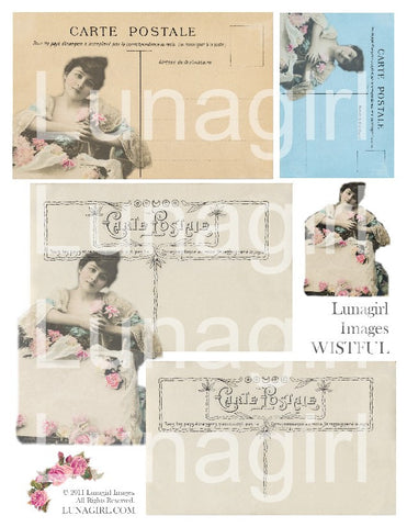 digital ephemera tags vintage images antique Paris French postcards altered art supplies printable collage sheet