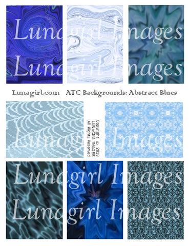Abstract ATC Backgrounds: Blues Digital Collage Sheet - Lunagirl