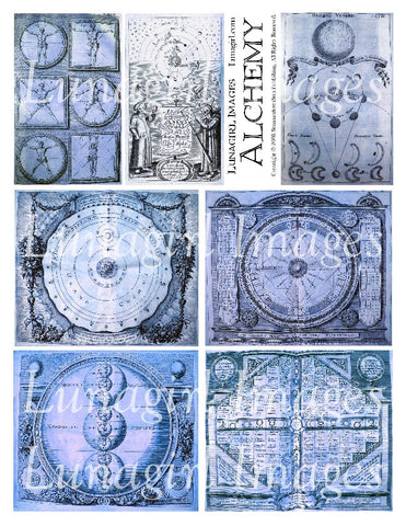 Alchemy 1 in Blue Digital Collage Sheet - Lunagirl