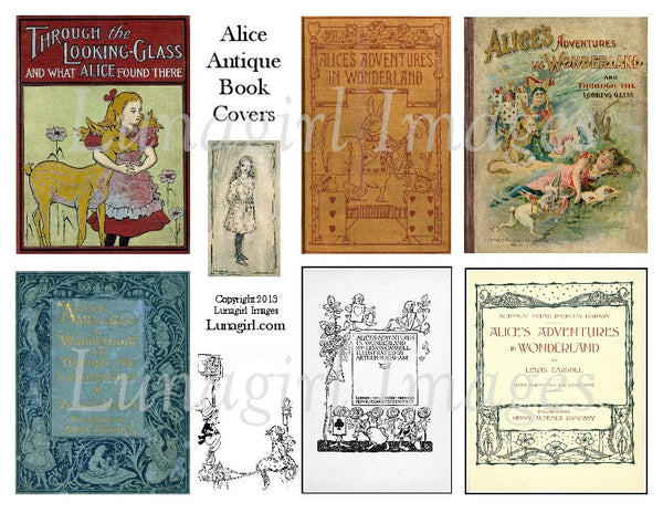 Alice Antique Book Covers Digital Collage Sheet - Lunagirl