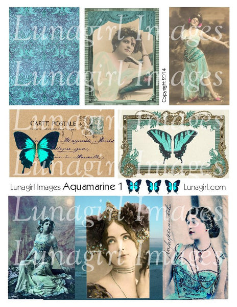 Aquamarine Blue #1 Digital Collage Sheet - Lunagirl