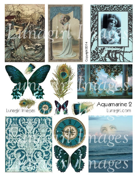 Aquamarine Blue #2 Digital Collage Sheet - Lunagirl