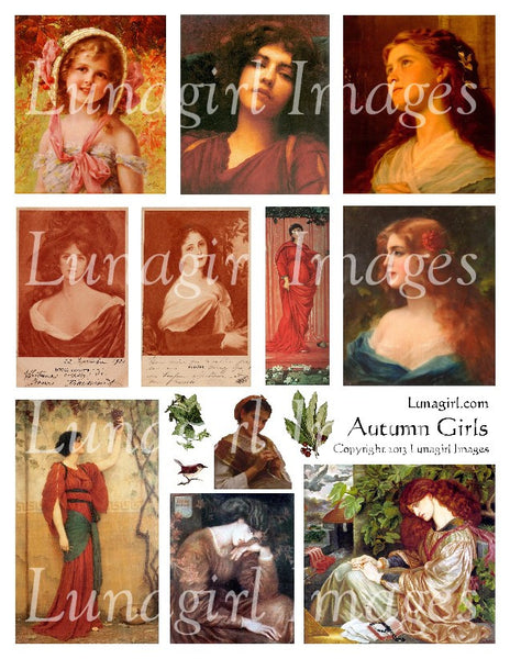 Autumn Girls Digital Collage Sheet - Lunagirl