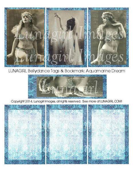 Bellydance Tags & Bookmark: Aquamarine Dream Digital Collage Sheet - Lunagirl