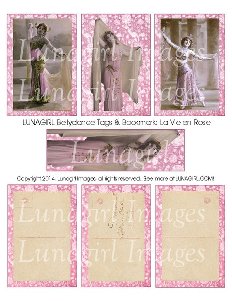 Bellydance Tags & Bookmark: La Vie en Rose Digital Collage Sheet - Lunagirl