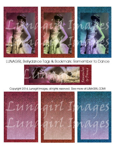Bellydance Tags & Bookmark: Remember to Dance Digital Collage Sheet - Lunagirl