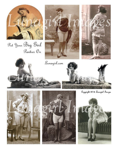 Put Your Big Girl Panties On Digital Collage Sheet - Lunagirl