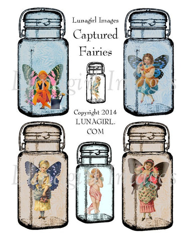Captured Fairies Digital Collage Sheet - Lunagirl