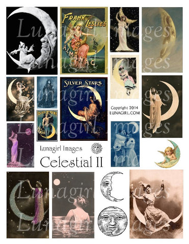 Celestial #2 Digital Collage Sheet - Lunagirl