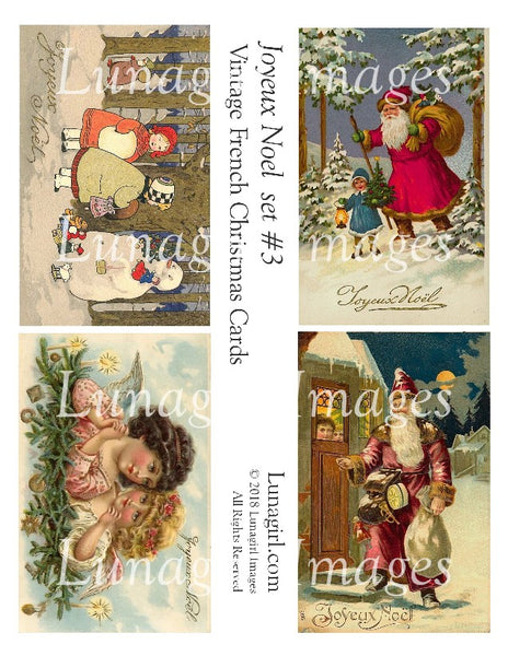 JOYEUX NOEL Set #3: Vintage French Christmas Cards - Lunagirl