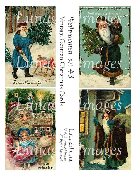 WEIHNACHTEN Set #3 Vintage German Christmas Cards - Lunagirl