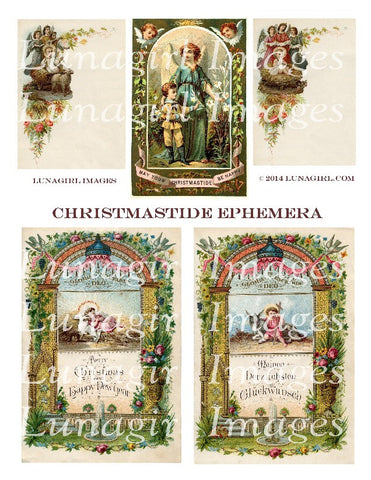 Christmastide Ephemera Digital Collage Sheet - Lunagirl