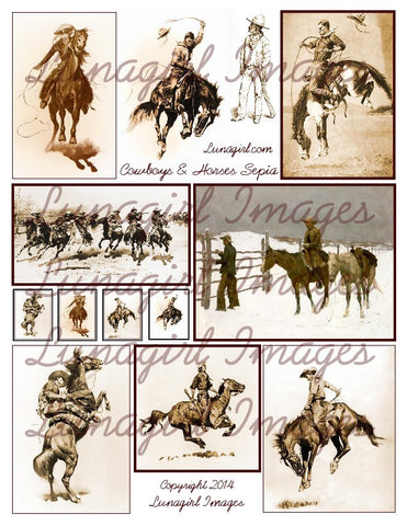 Cowboys & Horses in Sepia Digital Collage Sheet - Lunagirl