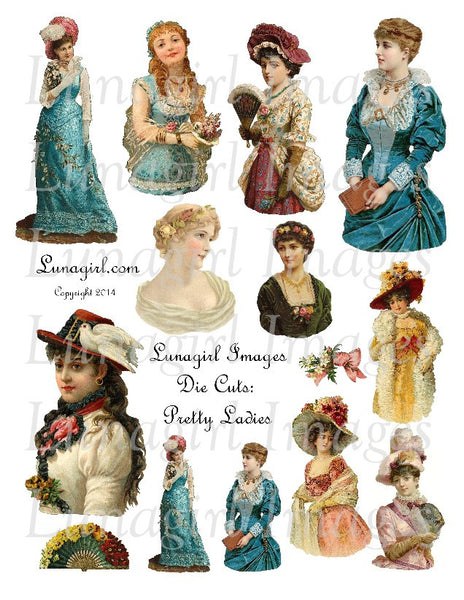 Die Cuts: Pretty Ladies Digital Collage Sheet - Lunagirl
