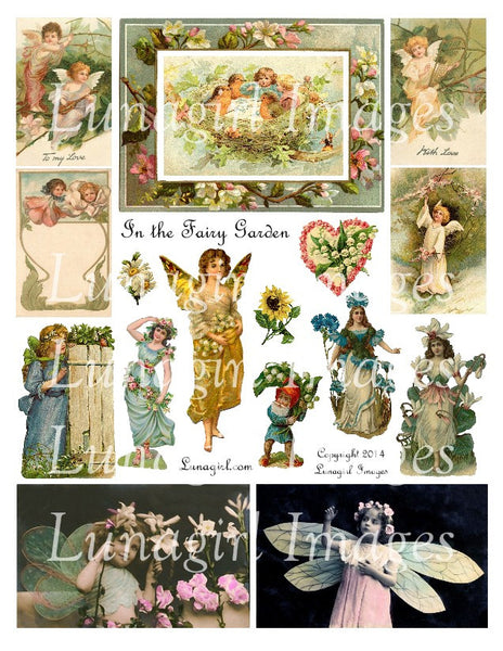 In the Fairy Garden Digital Collage Sheet - Lunagirl