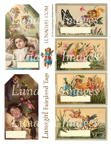 Fairyland Tags Digital Collage Sheet - Lunagirl