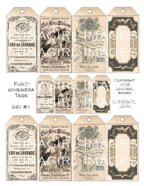 Fancy Ephemera Tags Set #1 Digital Collage Sheet - Lunagirl