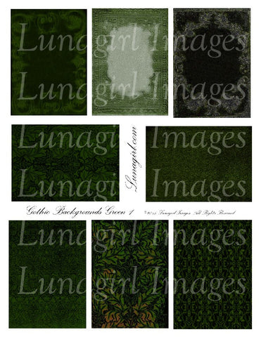 Gothic Backgrounds: Green Digital Collage Sheet - Lunagirl