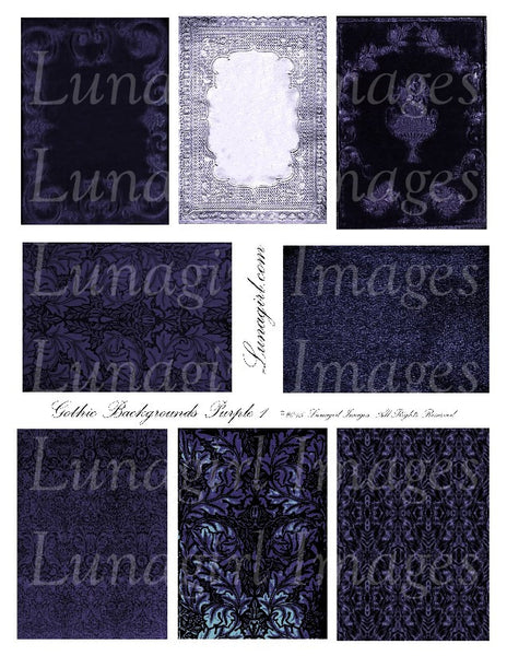 Gothic Backgrounds: Purple Digital Collage Sheet - Lunagirl