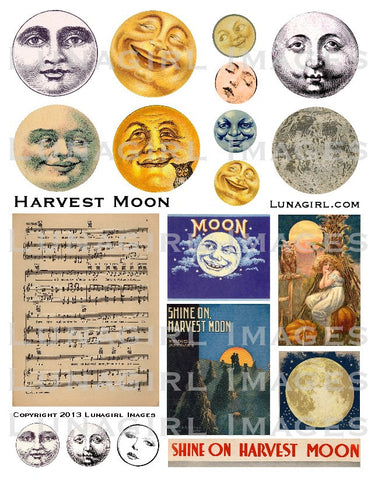 Harvest Moon Digital Collage Sheet - Lunagirl