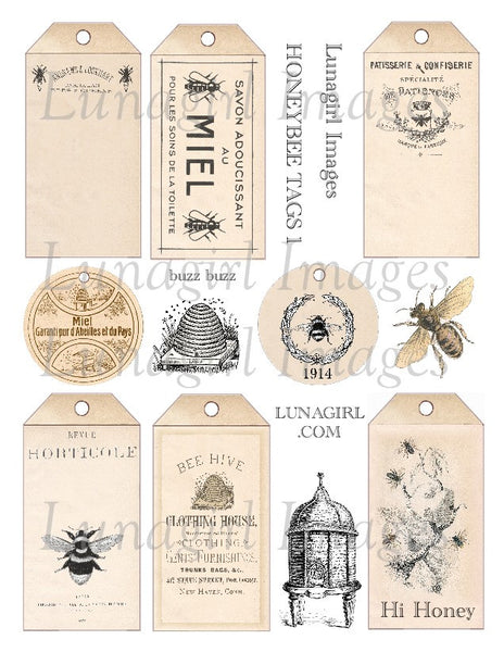 Honeybee Tags Set #1 Digital Collage Sheet - Lunagirl