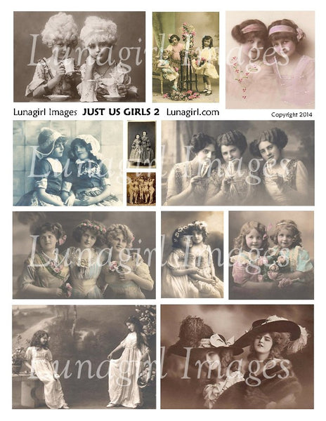 Just Us Girls #2 Digital Collage Sheet - Lunagirl