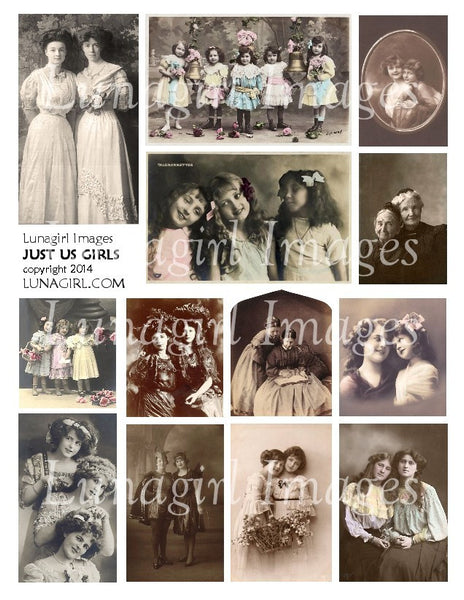 Just Us Girls #1 Digital Collage Sheet - Lunagirl