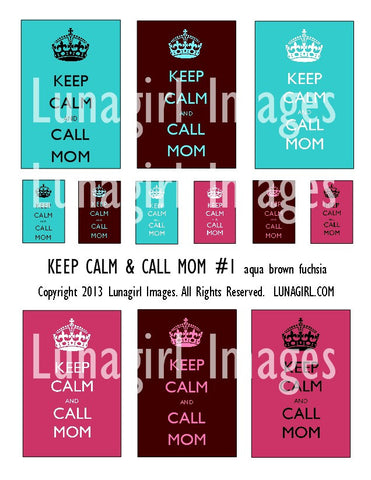 Keep Calm & Call Mom #1 (Aqua Brown Fuchsia) Digital Collage Sheet - Lunagirl
