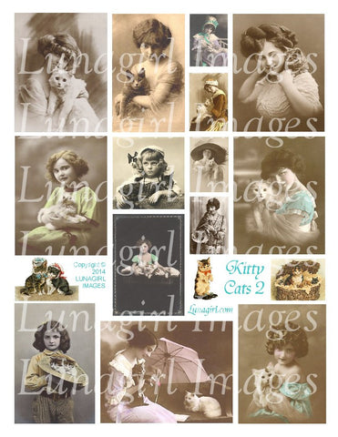Kitty Cats #2 Digital Collage Sheet - Lunagirl