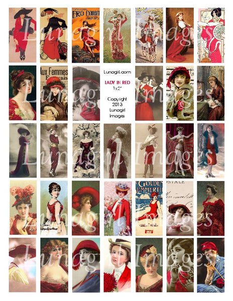 "Lady in Red 1x2"" Dominoes Digital Collage Sheet - Lunagirl"