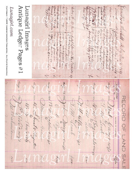 Antique Ledger Pages in Pink Digital Collage Sheet - Lunagirl