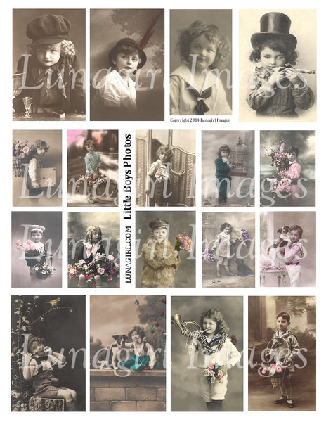 Little Boys Vintage Photos Digital Collage Sheet - Lunagirl