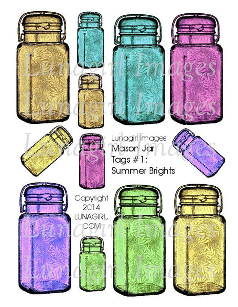 Mason Jars Tags #1 Summer Brights Digital Collage Sheet - Lunagirl